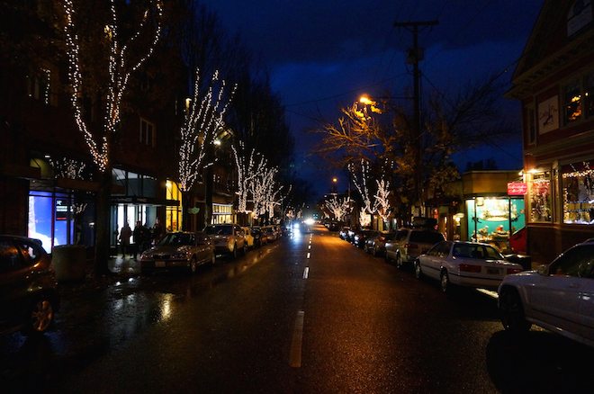 portland night christmas winter