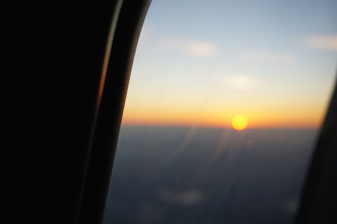 sunset airplane window