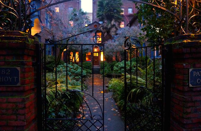 portland night courtyard