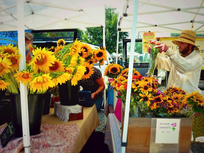 Flowers at the farmer's market in Durham, NC