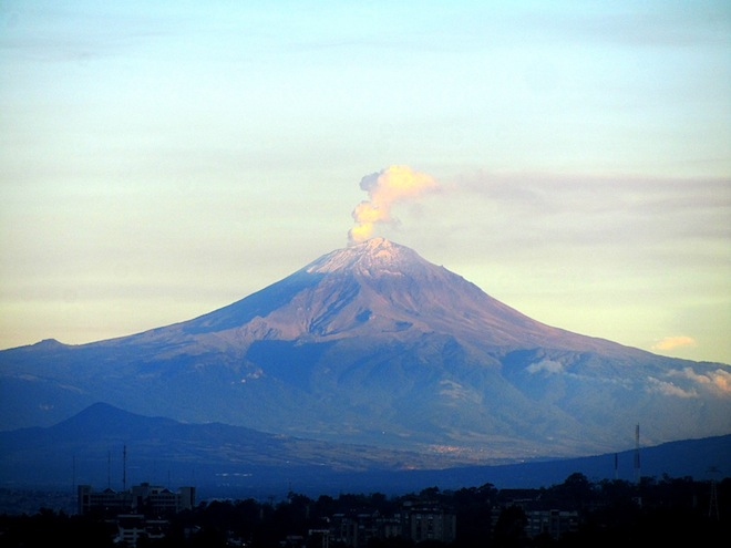 The Popocatepetl Volcano seen from Mexico City.