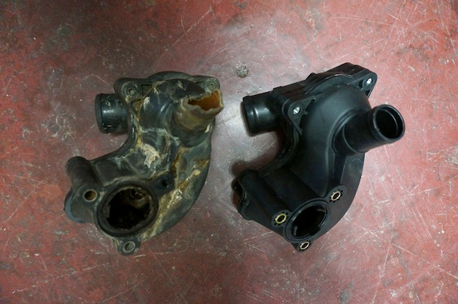 Old and new thermostat housing. Can you tell which one is which?