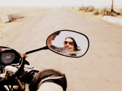 Josh and I riding the motorcycle in rural India.