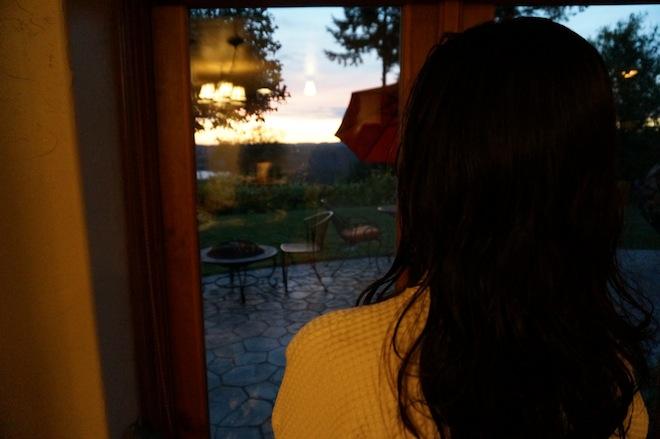 Enjoying the sunset after the sauna.