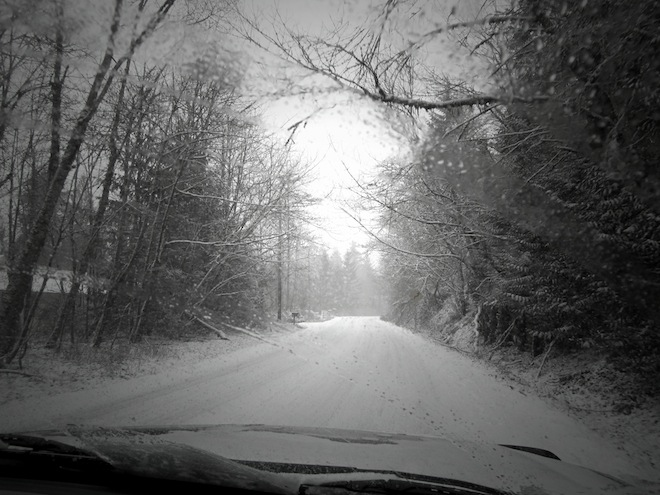 Driving during snowfall in Portland, OR.