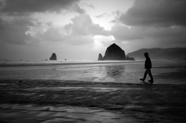 cannon beach oregon black and white