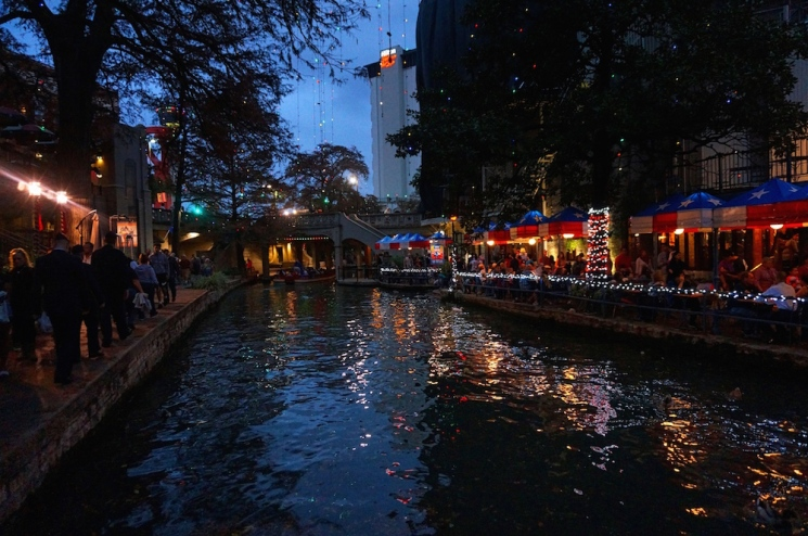 San Antonio river walk holiday lights